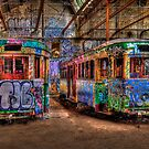 Two Trams by Ian English