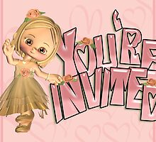 Invitation Card With Cute Little Girl by Moonlake