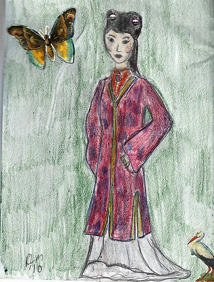 Lady With Butterfly- Asian Women Series #4 by RobynLee