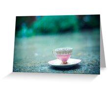 raining on her teacup Greeting Card