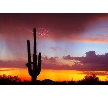 Arizona Sunset with Lightning Strike Photographic Print
