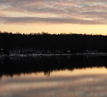 Sunsetting Over The Trent River- Hastings Ontario Canada by Les Wazny