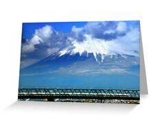 Mt. Fuji & Bullet Train in Japan Greeting Card