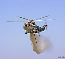Helitanker dropping water by Julia Harwood