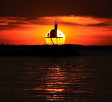 The Sun Sets Behind Dog Bar Light by Kamalyn