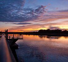 Stonybrook Harbor Sunset and dock 2 - New York  by Jay Morena
