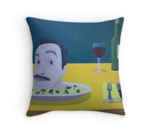 Self Portrait Braised with Rice and Broccoli Throw Pillow