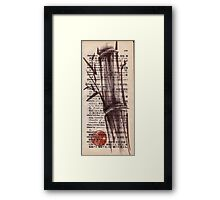"""Bamboo sketch"" #135 - Dictionary india ink brush pen drawing/painting Framed Print"