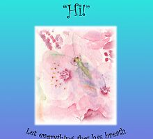"Greeting Card Green Lacewing on Prunus Blossom ""Just to say a friendly Hi!"" Psm 150:6 by bronspst"
