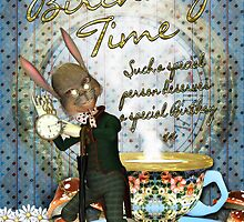 Birthday Card With Rabbit And Cup Of Tea  by Moonlake