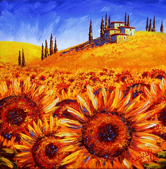 Tuscany Sunflower Hills by sesillie