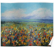 Wildflower Seascape Poster