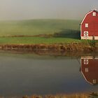 Red Barn By Farm Pond by Don Brogan
