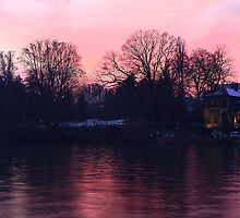 Pinky sunset over the river Po by Stefano  De Rosa