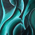 Greenswirls diptych part a & b by Margo Humphries