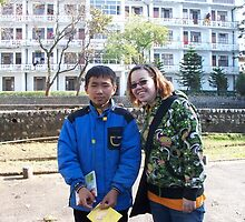 Ugyen and I in Front of the Boys' Hostel by Angie Spicer