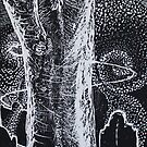 Woodcut: Spirits Rising Woodcut by Marion Chapman