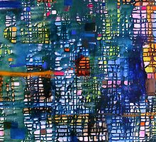 blue green abstract grid - oil on canvas by Regina Valluzzi