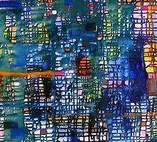 blue green abstract grid - oil on canvas by Regina Valluzzi