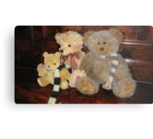 Boy & Girl Teddy with Pooh Bear. Metal Print