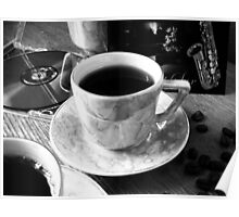 Sax and Coffee.B&W. Poster