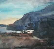 Brooding Hills--watercolor in blues and purples by BohemianArtCafe
