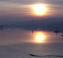 Misty Sunset on the River Foyle by Gerry  Temple