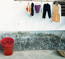 Bucket of Chillis and Washing Line, Guilin, China by hinomaru