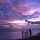 Sunset on a beach in Kerala India by Leila Cutler