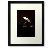 Abstract Umbrella At Night On A Rooftop Framed Print