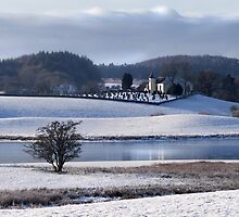 Balmaghie Church Across Loch Ken in the Snow  by Kim  Ayres