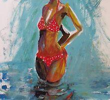 Turquoise skies and red bikini by RosWebb