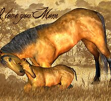 Mom Valentine's Day Card With Horse And Foal  by Moonlake