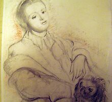 portre woman and dog by tulay cakir