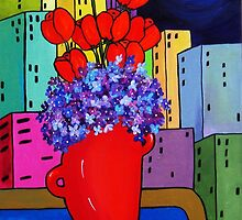 Blue Moon with Fruit and Flowers   SOLD by Deborah Glasgow