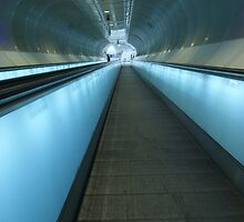 Blue escalators by Lindie