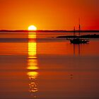 """""""Sailboat Anchored Against the Setting Sun"""" by krod18"""