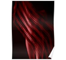 Scarf with Stripes in Red Poster