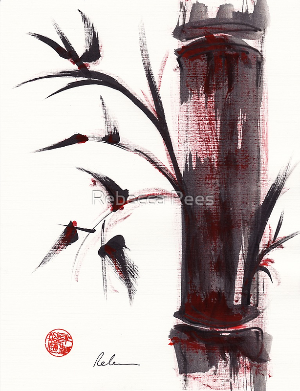"""""""Crimson in the Mist"""" dry brush and India ink bamboo painting by Rebecca Rees"""