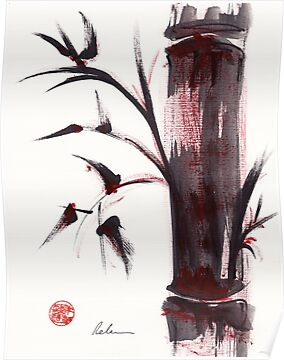 """Crimson in the Mist"" dry brush and India ink bamboo painting by Rebecca Rees"