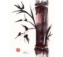 """Crimson in the Mist"" dry brush and India ink bamboo painting Photographic Print"