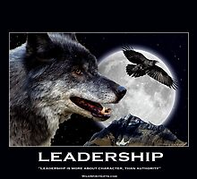 Leadership Grey Wolf Motivational Poster by Val  Brackenridge