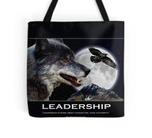Leadership Grey Wolf and Raven Artwork Tote Bag