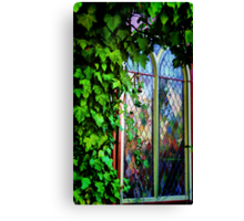 Stained Glass and Ivy Canvas Print