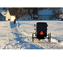 Horse and Buggies in the Snow Photographic Print