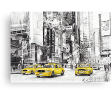Three Yellow Taxi's Canvas Print