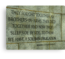 Memorial Details : A Solemn Obligation Canvas Print