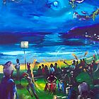 Drummers and firetwirlers- Terrigal Beach by robert (bob) gammage