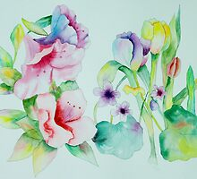 Azaleas Violets and Tulips by henrytheartist