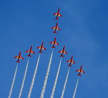 Red Arrows in Cambridge by Yvonne Falk Ponsford